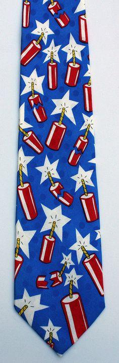 New Firecrackers Mens Necktie July 4th Holiday Fireworks Patriotic Silk Neck Tie #TiesInDisguise #NeckTie