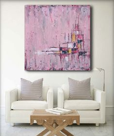 made to order modern Abstract Textured, palette knife artwork by artist Baron Visi, -Size: 36x36x1.5 -Medium: oils, acrylics on canvas -Dominant Colours: pink -Signed and dated on the back by the artist The sides of the canvas are painted. The canvas can be hanged as is -no staples on its