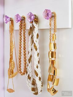 Jewelry Storage | Create a simple necklace hanger with a board and pretty knobs