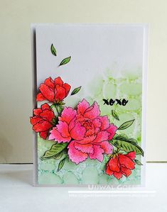 I have a crazy schedule at the moment but I couldn't let go of the opportunity to play along Altenew's March Challenge . It's such a gorgeo. 3d Cards, Paper Cards, Flower Stamp, Flower Cards, Peonies Bouquet, Peony, Altenew Cards, Beautiful Handmade Cards, Watercolor Cards