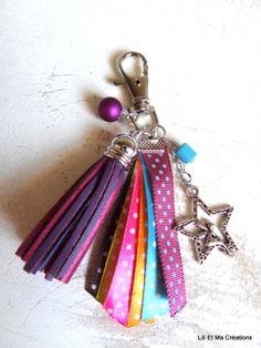 Bijou de sac, porte-clés Grigri Lili et Ma Créations style Desigual : Autres bijoux par lili-et-ma-creations