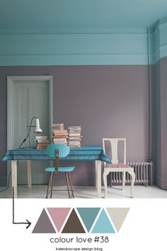 Colour Love #38 Kaleidoscope Design Blog #colour #grey #gray #dove #mauve #teal #turquoise #aqua #cream #white #brown #neutral #cornice #door #chair #table #books #room #tablecloth #stripes #paint #effects #ceiling #radiator #stool #lamp #desk
