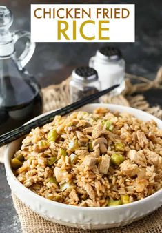 Chicken Fried Rice - Better than takeout! This easy family recipe is loved in our home. It's full of flavor and delicious. Easy Rice Recipes, Easy Chicken Recipes, Side Dish Recipes, Easy Dinner Recipes, Asian Recipes, Ethnic Recipes, Chicken Meals, Rice Dishes, Casserole Dishes