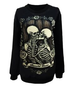 Gothic Clothing Sweatshirts Kiss Skull Hoodies Pullovers Sweater For Women