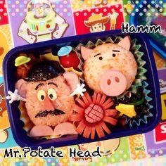 キャラ弁*トイストーリー『ポテトヘッド&ハム』 Kawaii Bento, Cute Bento, Bento Recipes, Fruit Recipes, Lunch Kids, Bento Box Lunch, Food Crafts, Edible Art, Cute Food
