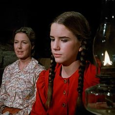 """Little House On The Prairie"" - Caroline and Laura Ingalls (Karen Grassle and Melissa Gilbert)"
