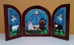 Patchwork sin aguja navidad - Imagui Christmas Sewing, Christmas Nativity, Diy Christmas Ornaments, Xmas Crafts, Felt Christmas, Winter Christmas, Merry Christmas, Christmas Charts, Nativity Crafts