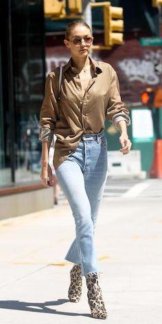Gigi-Hadid-NYC-Brown-Shirt