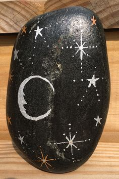 This Moonlit Night Sky hand-painted rock will make a one of a kind housewarming gift for that special friend, deserving teacher, gardener who has everything, or yourself Painted Rocks For Sale, Hand Painted Rocks, Sky Garden, River Stones, Stone Art, Stars And Moon, High Gloss, Etsy Store, House Warming