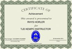 Martial Arts Instructors Certificate for Rhys Horler in TJD Kempo