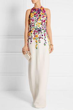 Oscar de la Renta | Embellished silk-satin halterneck gown | NET-A-PORTER.COM