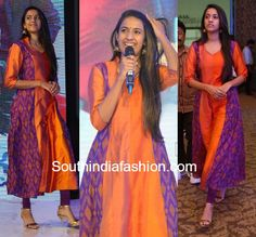 Niharika Konidela in a simple kurta – South India Fashion Kalamkari Dresses, Ikkat Dresses, Bandhani Dress, Long Gown Dress, Saree Dress, Long Frock, Churidar Designs, Kurta Designs Women, Indian Designer Outfits