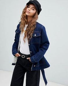 bcdcfe6497e ASOS DESIGN denim belted jacket in indigo with borg lining. Color