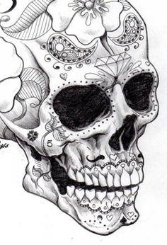 Masculine Sugar Skull drawing
