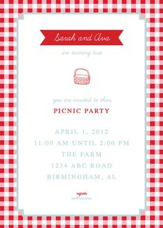 Picnic Birthday Party Invitation By Emmyjosparties On Etsy