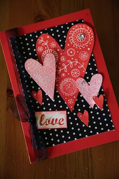 Valentine card--turn into scrapbook page. I like the hearts on the black polka-dot background. Valentines Day Cards Handmade, Valentine Crafts, Valentines Greetings, Valentine Decorations, Cute Cards, Diy Cards, Karten Diy, Valentine's Day Diy, Paper Cards