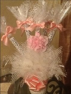 """Candy tube centerpiece with homemade """"dress"""" for a little flair.  designs by jessica lee"""