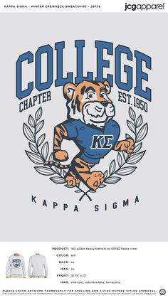 Kappa Sigma Sweatshirt | Fraternity Sweatshirt | Greek Sweatshirt #kappasigma #kappasig #ks #Sweatshirt Fall Designs, Custom Design Shirts, Sigma Kappa, Sorority And Fraternity, Columbia Blue, Autumn Theme, Crew Neck Sweatshirt, Screen Printing, Greek
