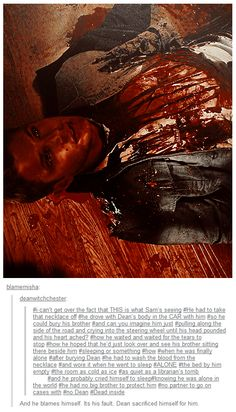 I can't get over the fact that THIS is what Sam's seeing. He had to take that necklace off. He drove with Dean's body in the car with him so he could bury his brother. And can you imagine him just pulling off along the side of the road and crying into the steering wheel until his head pounded and his heart ached? How he waited and waited for the tears to stop? How he hoped he'd just look over and see his brother sitting there beside him, sleeping or something?