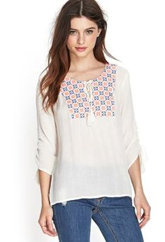 Forever 21 Embroidered Gauze Peasant Top Found on my new favorite app Dote Shopping #DoteApp #Shopping