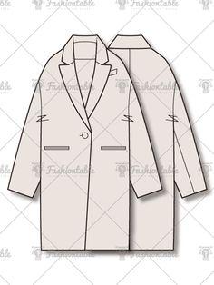 drop shoulder single coat 드롭숄더 싱글 버튼 코트 패션 도식화 fashion flat