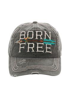 94c18d9b1491b Born Free baseball hat Distressed vintage design 100% Cotton.