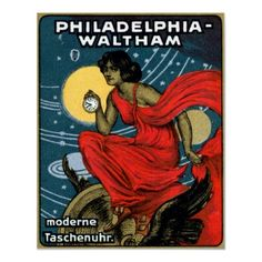 Gorgeous 1900 Waltham Pocket Watch Poster; originally a German stamp