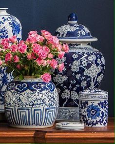 Chinoiserie Chic: Blue and White Tablescape. I like the all blue with white apple blossoms. Blue And White China, Blue China, Chinoiserie Chic, Ginger Jars, White Decor, Wabi Sabi, White Porcelain, Shades Of Blue, White Ceramics