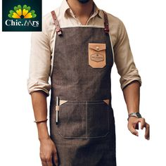 M L Size Leather Strap Cotton Denim Apron For Barber Chef Man Kitchen Working Personalized Custom Logo Cotton Apron 2016 New