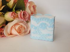 1 mtr x 5.5cm Width Baby Blue Lace with floral detail - Perfect for Wedding Invitations or bomboniere boxes! - Hall Occasions