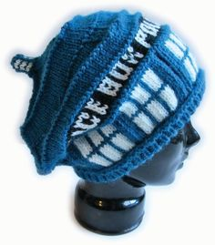 Police Box Slouch Hat Knitting Pattern inspired by Doctor Who Tardis