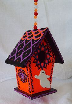 Halloween Decoration Mini Size Birdhouse with by SingingTrees, $15.00