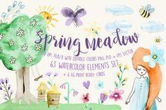 Spring Meadow Watercolor Set  @creativework247