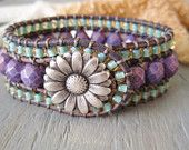 Beaded leather cuff bracelet 'Country Flowers' rustic purple, violet, aqua seafoam, daisy flower, surfer girl, luxe boho glam