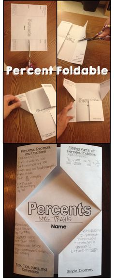 Great review for the end of a percent unit- foldable that hits on all the major topics $