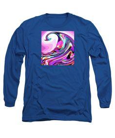 Original Digital Artwork .wave Curling Styalized Long Sleeve T-Shirt featuring the digital art The Curl by Expressionistartstudio Priscilla-Batzell