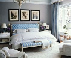 blue tufted bedroom