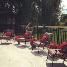 Spruced up some old chairs with new cushions, poolside! Old Chairs, Outdoor Furniture Sets, Outdoor Decor, Cushions, Home Decor, Homemade Home Decor, Throw Pillows, Cushion, Pillows