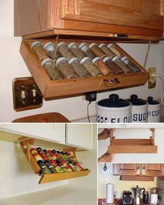 Use the under space of the cabinet to create a spice rack