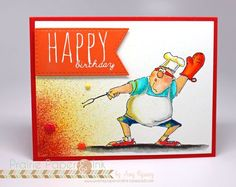 Stamps: Ai Heroes Grill Father (Sku#4375) Watercolor Foliage set 1 (SKU# 4051) Handmade Father's Day card. BBQ, grill master, picnic, dad, Grillfather, birthday