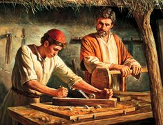 This is an image of #Jesus learning woodworking from Joseph.