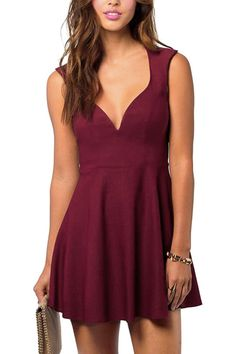Sexy Sleeveless Deep V Neck Backless Plain Color Mini Dress - US$17.95 -YOINS