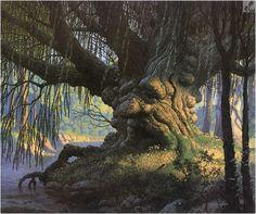 Fantasy - Surrealism - Other Art High Fantasy, Fantasy Art, Humanoid Creatures, Willow Tree, Album Photo, Fantasy Landscape, Conte, Middle Earth, Tolkien