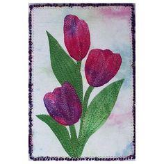 Fiber Art Quilt Postcard- Fuchsia Spring Tulips