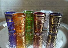 multicolored tea glasses