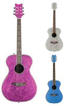 The perfect gift for a rockstar! Love these glitter acoustic guitars.