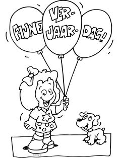 Kleurplaat Fijne verjaardag - Kleurplaten.nl Coloring Pages, Crafts For Kids, Snoopy, Teaching, Comics, School, Diy, Fictional Characters, Blog