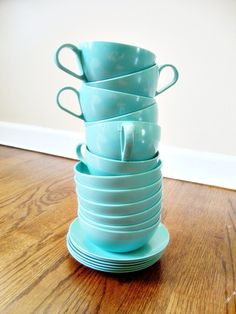 robin's egg blue cups and saucers