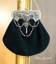 """Купить """"Эстер"""" сумочка с фермуаром - тёмно-зелёный, орнамент, сумка женская, сумка ручной работы"""