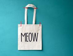 MEOW boodschappentas - tas met print van invisiblecrown op DaWanda.com